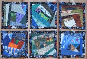 Coasters made from crazy quilt squares