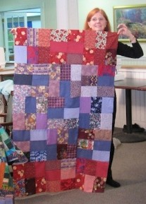Frances finishes a quilt top