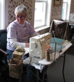 Jane sewing at Piecing for Parkinson's
