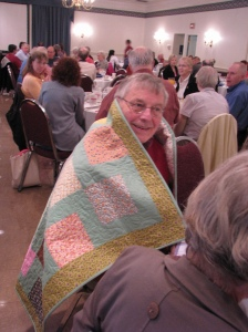 Another happy recipient of a quilt by Bob Johnson