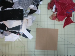 Scraps of black, white and red for coasters for web