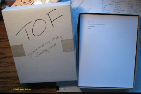 Proof copy of Thieves of Fire, the 2nd Carding, Vermont novel