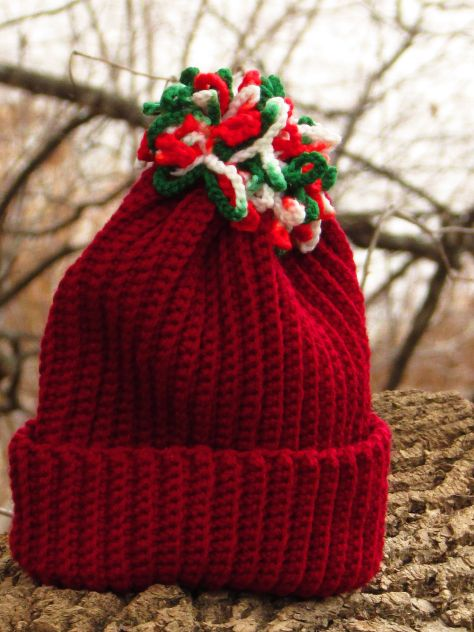 Red hat with Xmas topknot